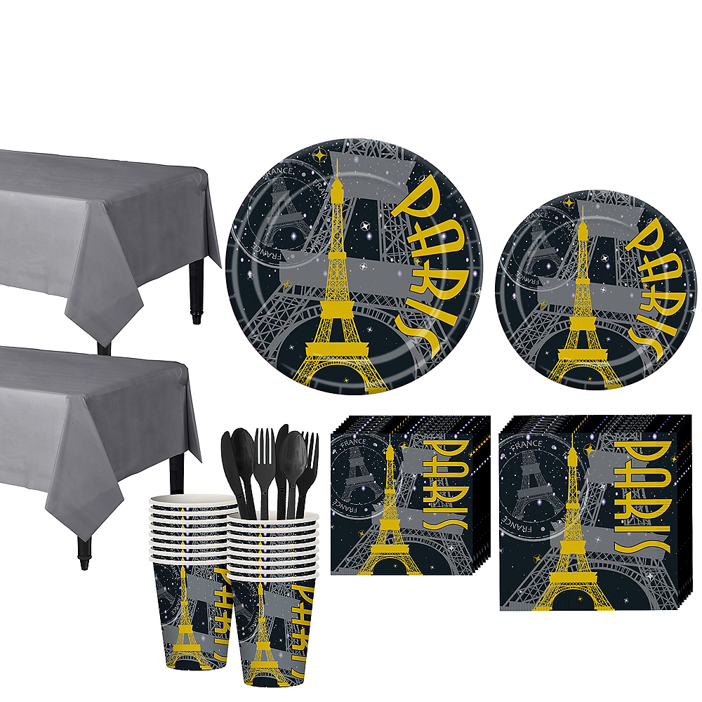 Black & Gold Paris Tableware Kit for 16 Guests Image #1