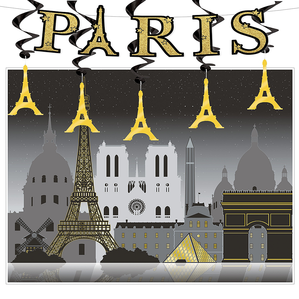 Black & Gold Paris Decorating Kit Image #1