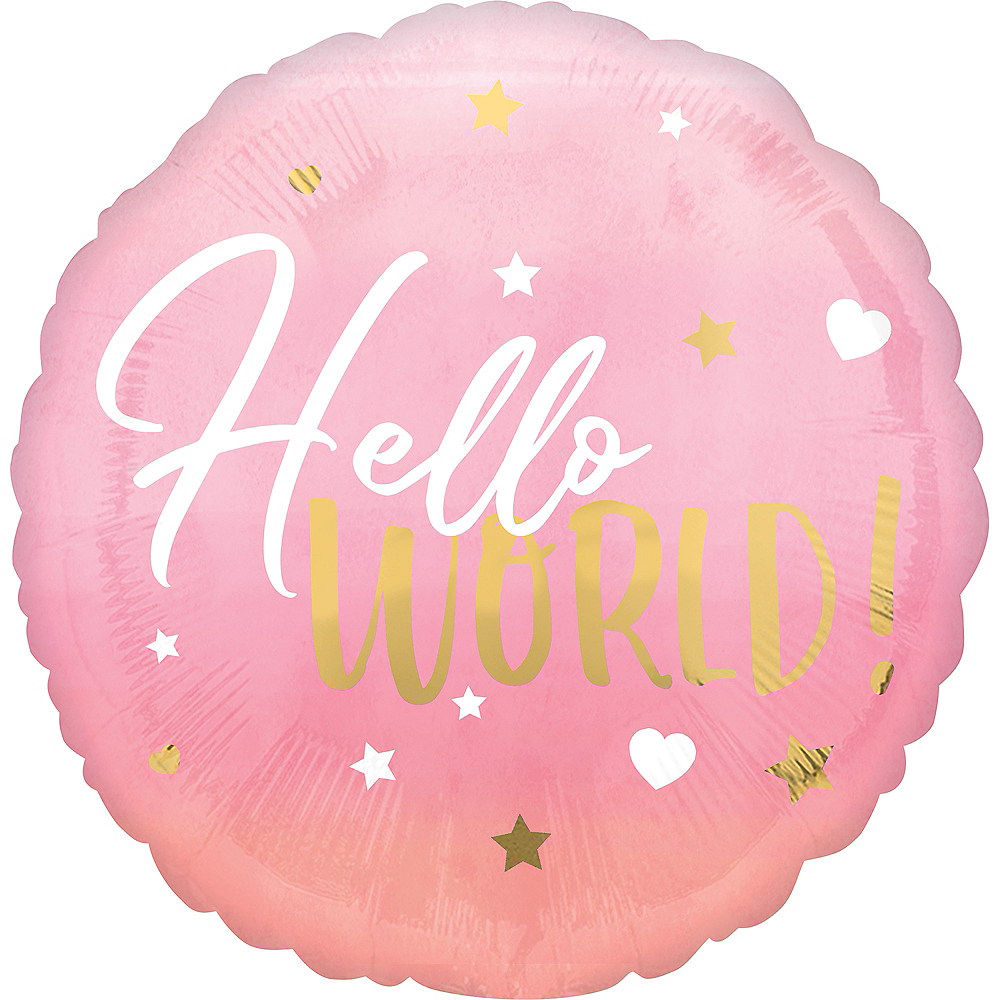 Metallic Gold, Pink & White Hello World Balloon Image #1
