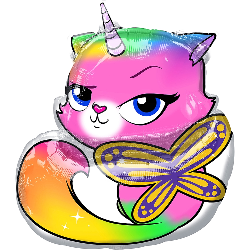 Felicity Balloon - Rainbow Butterfly Unicorn Kitty Image #1