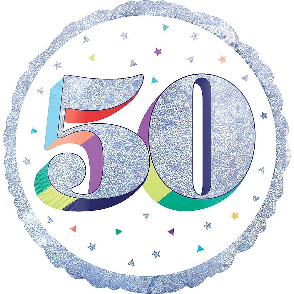 Prismatic Rainbow 50th Birthday Balloon Image #1