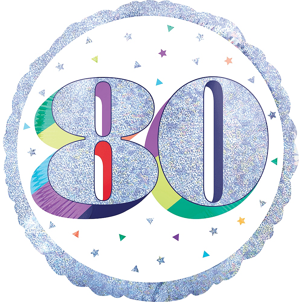 Prismatic Rainbow 80th Birthday Balloon Image #1
