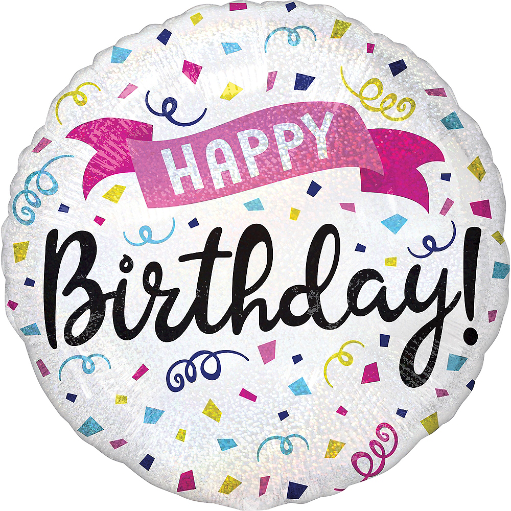 Nav Item for Prismatic Colorful Confetti Happy Birthday Balloon Image #1