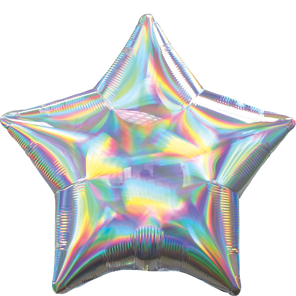Iridescent Silver Star Balloon Image #1