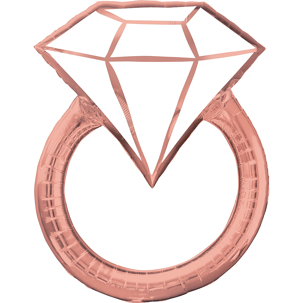 Giant Rose Gold Engagement Ring Balloon, 30in Image #1