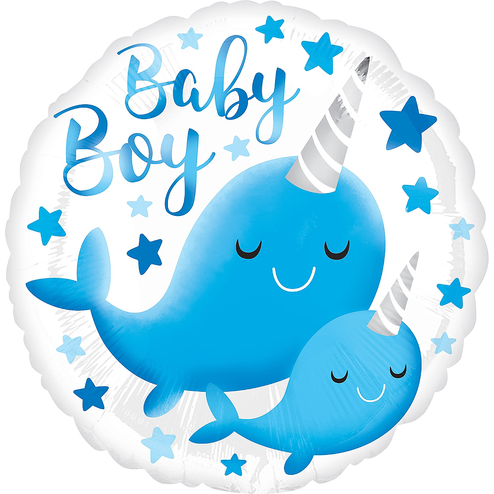 Narwhal Baby Boy Balloon Image #1