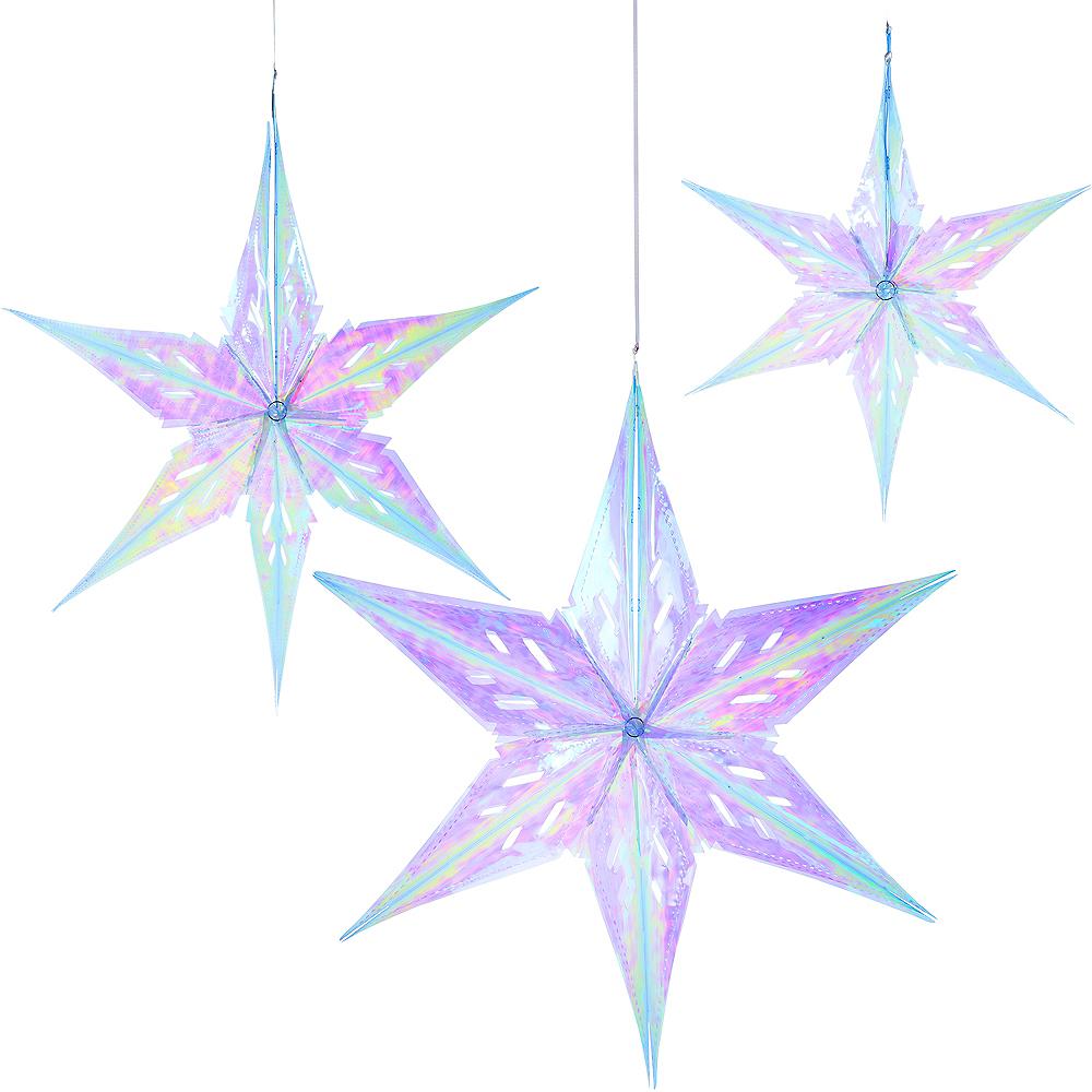 Iridescent Star Decorations 3ct Image #1