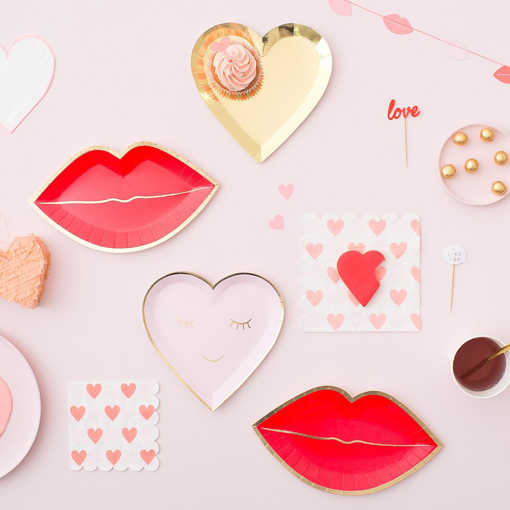 Shaped Pink Lip Dessert Plates 8ct Image #2