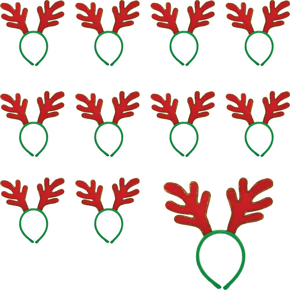 Red Reindeer Antlers Headbands 24ct Image #1