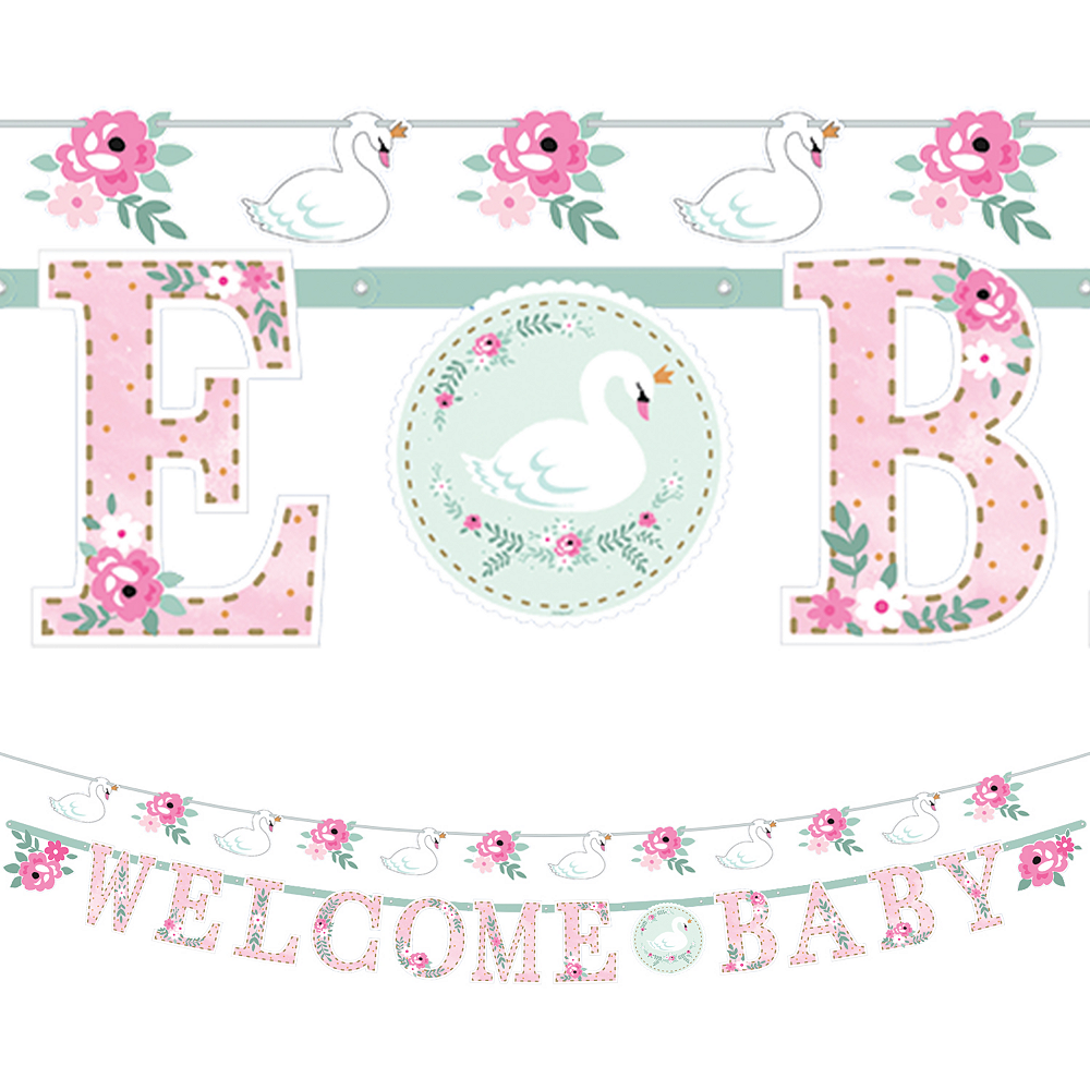 Sweet Swan Baby Shower Banners 2ct Image #1