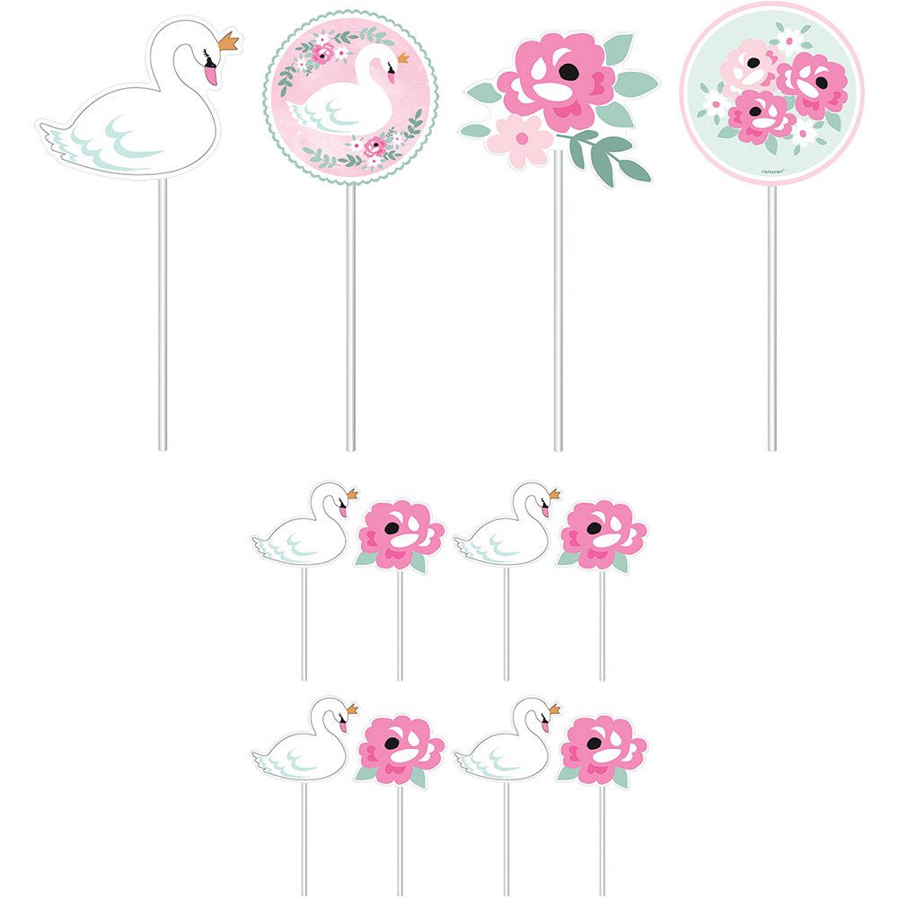 Sweet Swan Cake Toppers 12ct Image #1