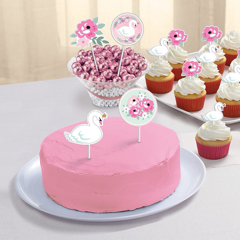 Sweet Swan Cake Toppers 12ct Image #2