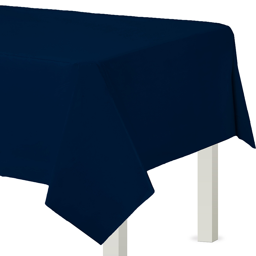 True Navy Blue Plastic Table Cover Image #1