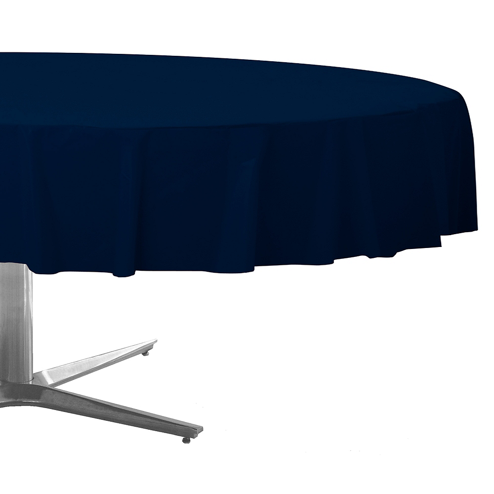 True Navy Blue Plastic Round Table Cover Image #1