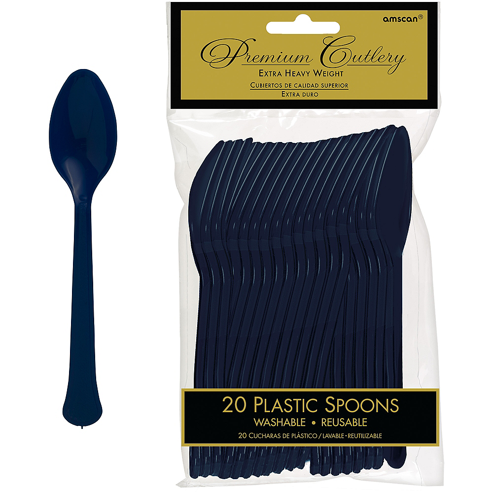 True Navy Blue Premium Plastic Spoons 20ct Image #1