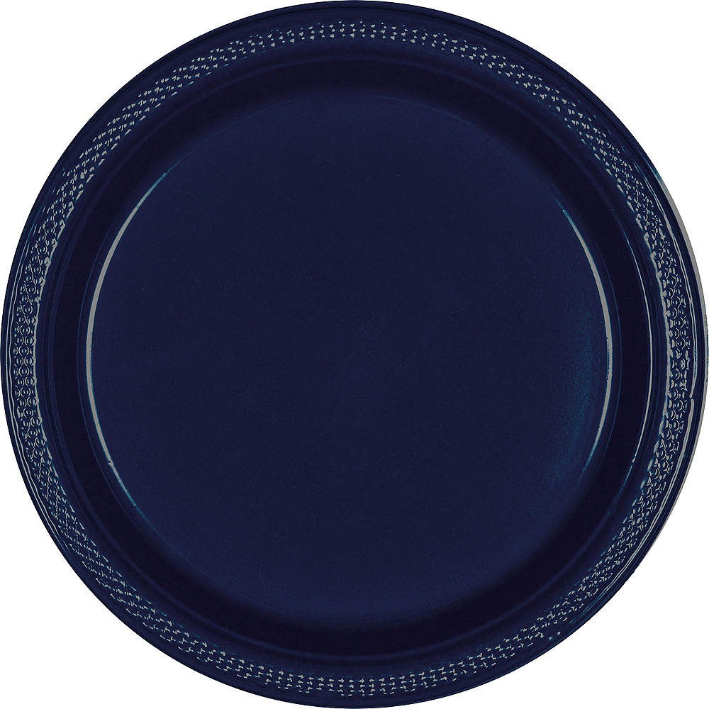 True Navy Blue Plastic Dinner Plates, 10.25in, 50ct Image #1