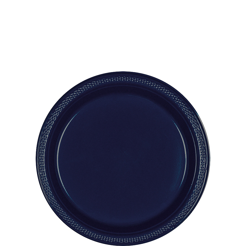 Big Party Pack True Navy Blue Plastic Dessert Plates 50ct Image #1