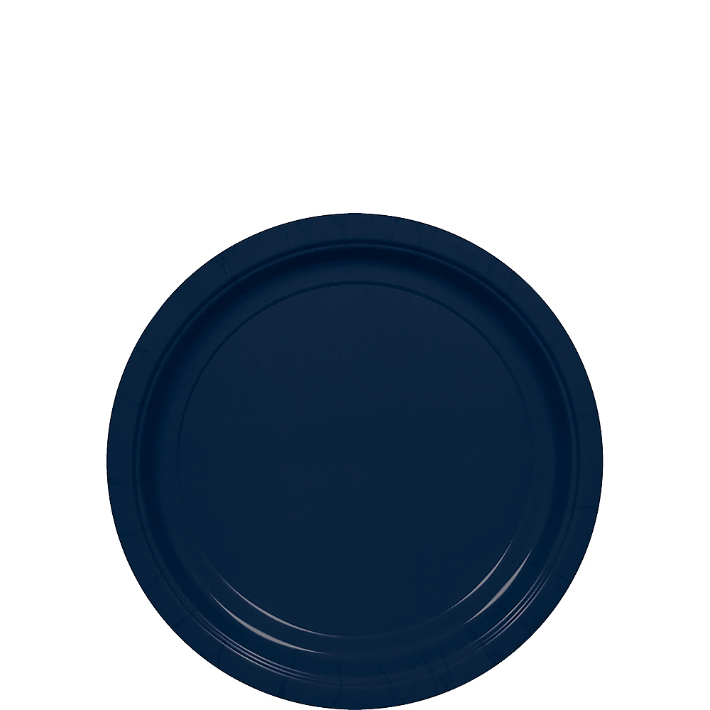 Big Party Pack True Navy Blue Paper Dessert Plates 50ct Image #1
