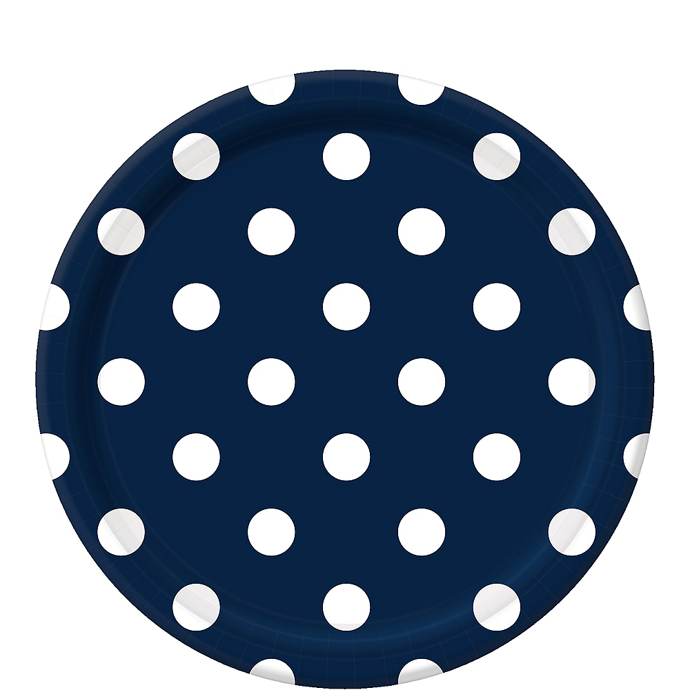 True Navy Blue Polka Dot Lunch Plates 8ct Image #1