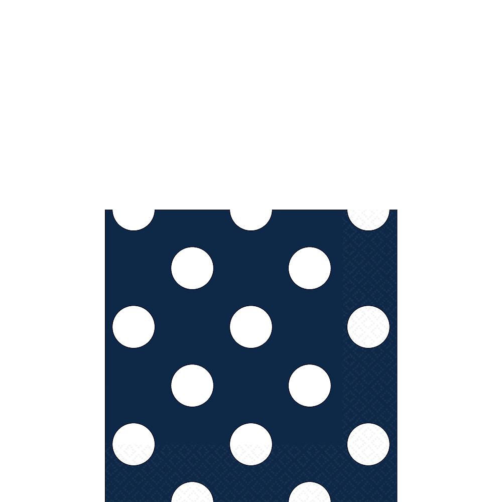 True Navy Blue Polka Dot Beverage Napkins 16ct Image #1