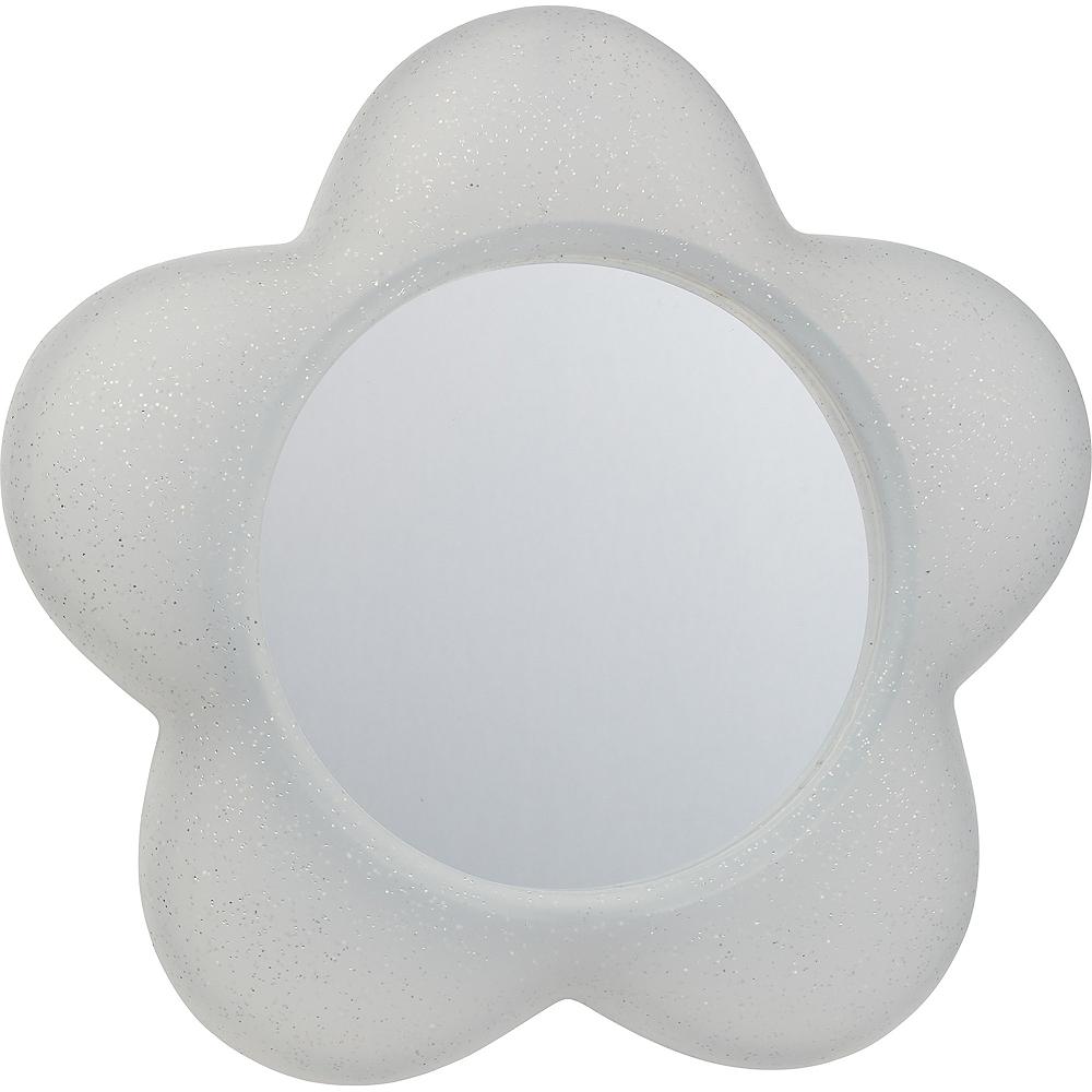 Glitter White Magnetic Flower Mirror Image #1