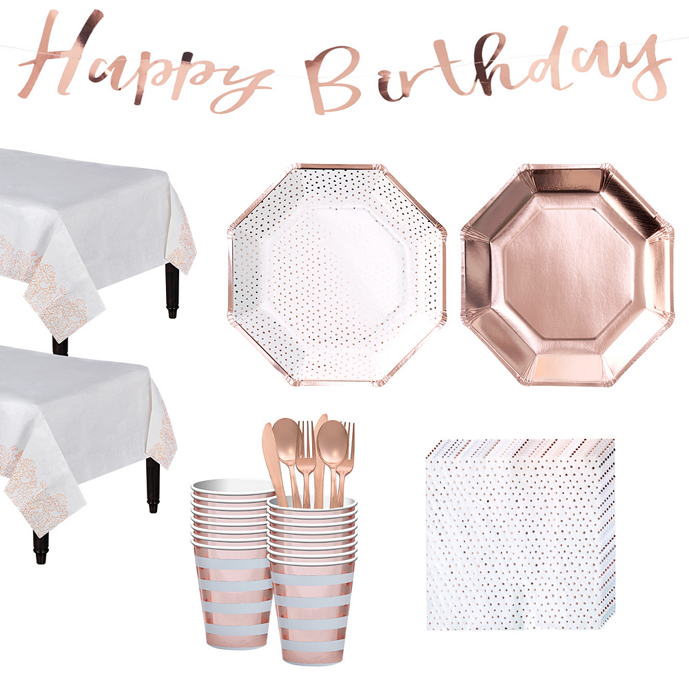 Metallic Rose Gold Party Kit for 16 Guests Image #1