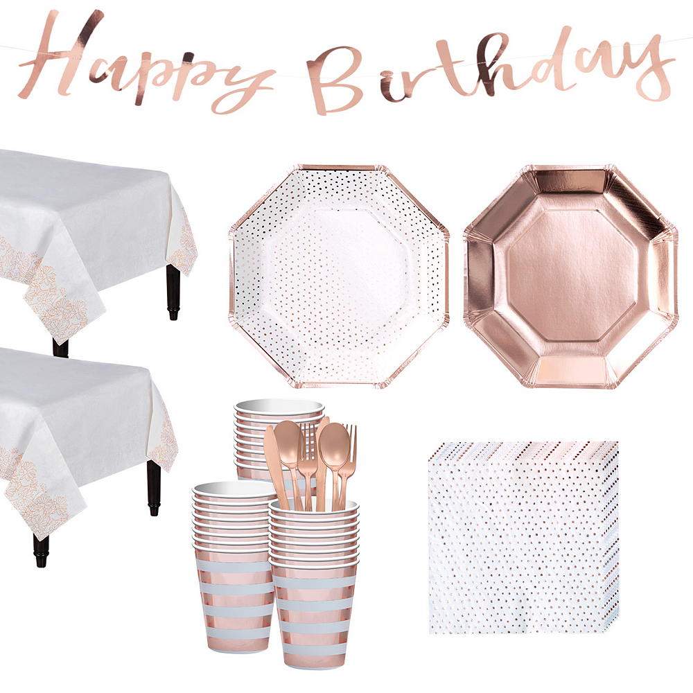 Metallic Rose Gold Party Kit for 24 Guests Image #1