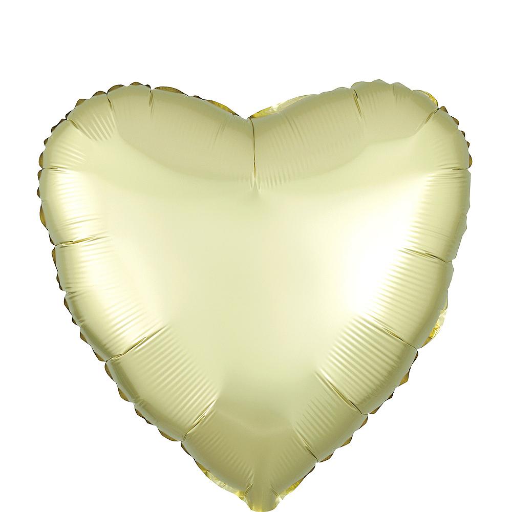 17in Light Yellow Satin Heart Balloon Image #1