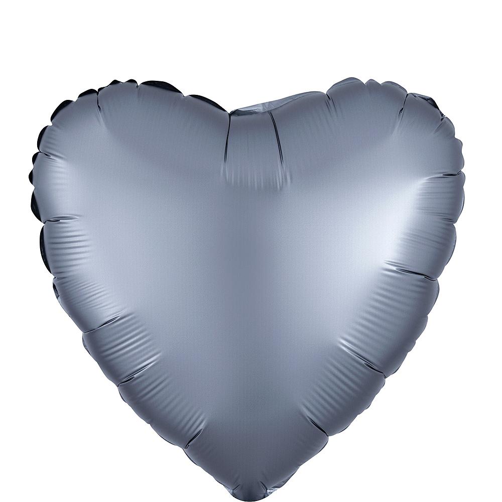 Graphite Satin Heart Balloon Image #1