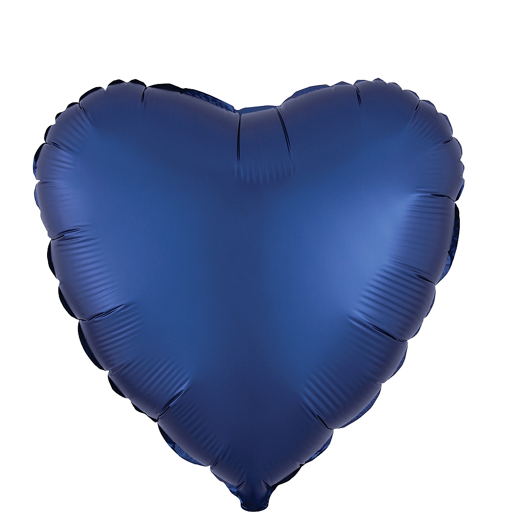 17in Navy Blue Satin Heart Balloon Image #1