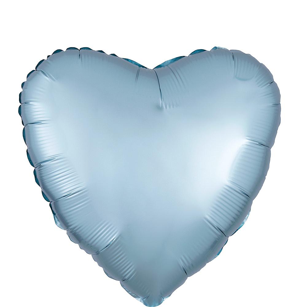 17in Pastel Blue Satin Heart Balloon Image #1