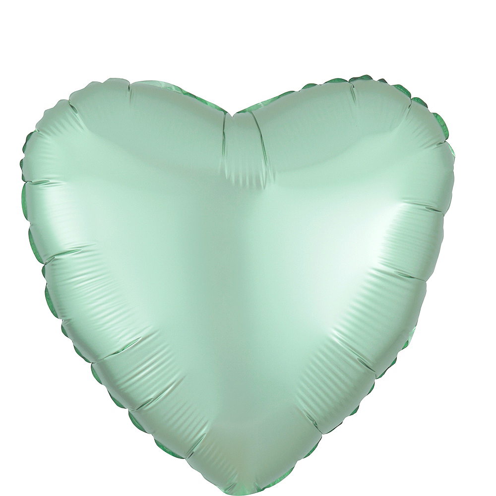 17in Mint Green Satin Heart Balloon Image #1