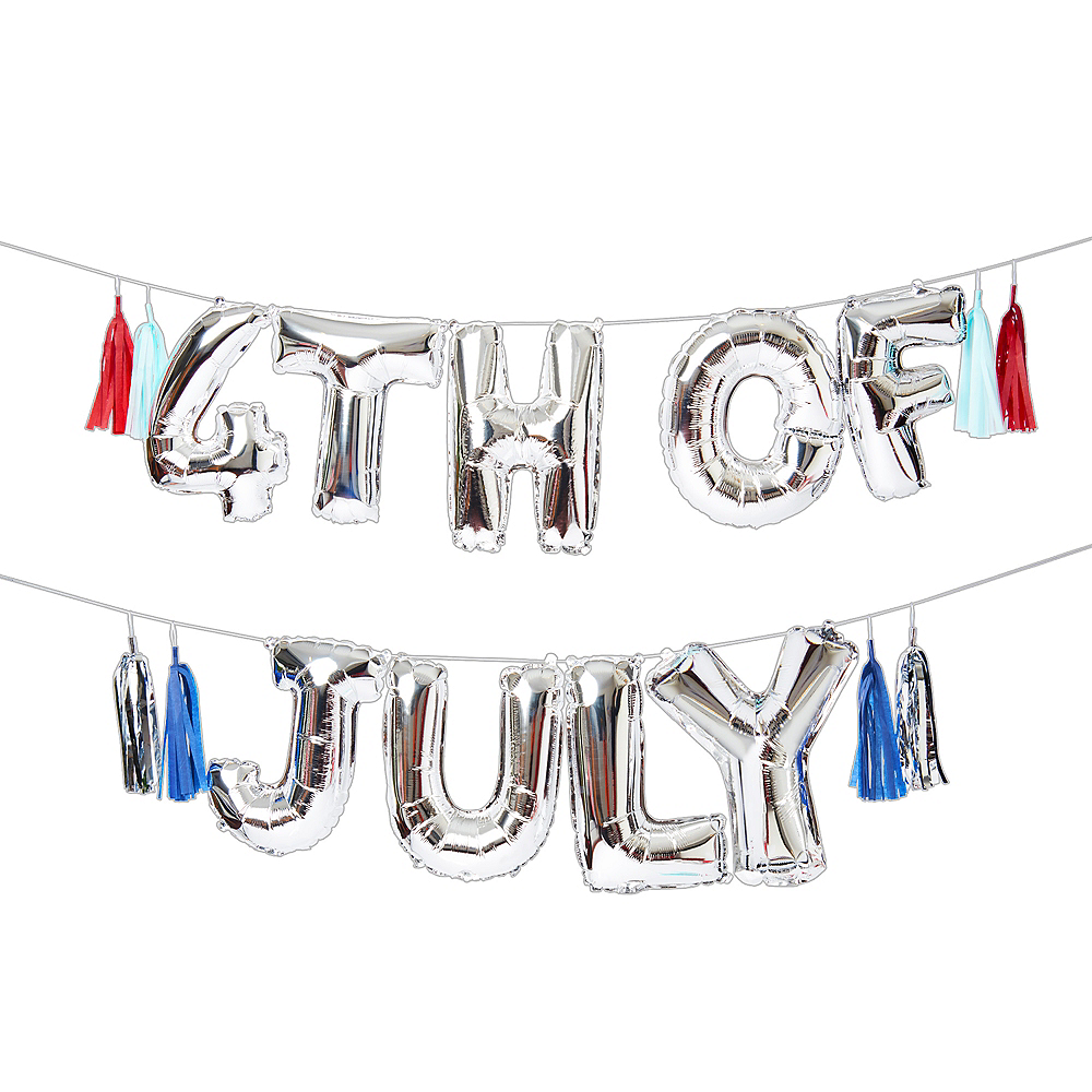 Air-Filled Silver 4th of July Letter Balloon Kit 18pc Image #1