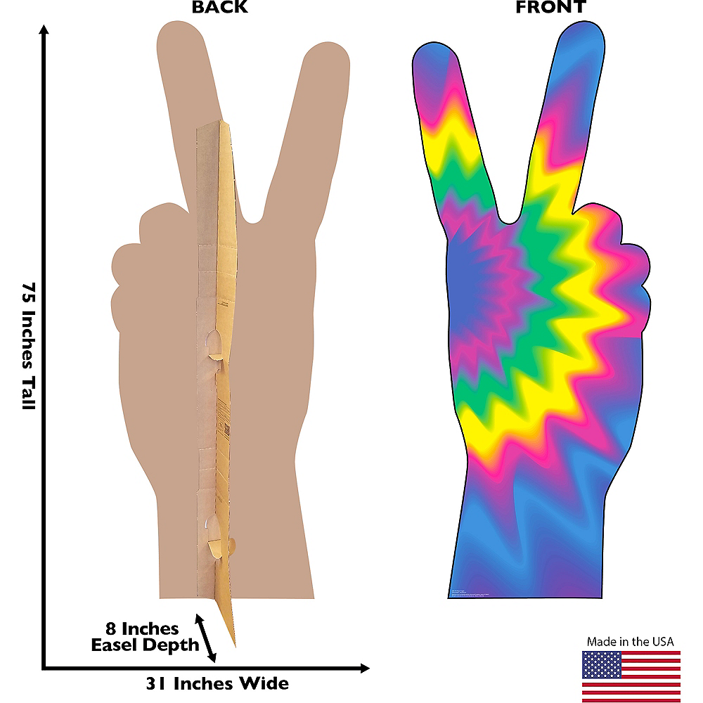 Nav Item for 70s Tie-Dye Peace Fingers Standee Image #2