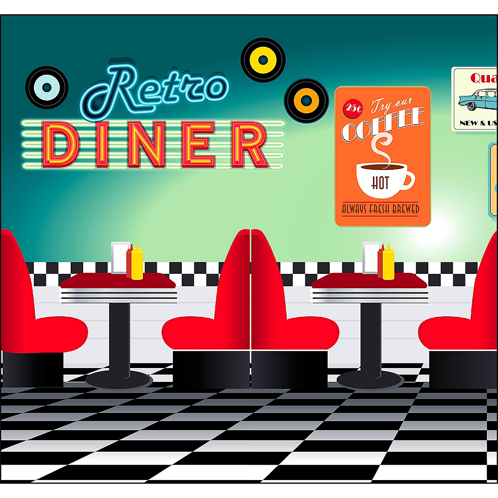 50s Retro Diner Backdrop Standee 2pc Image #1