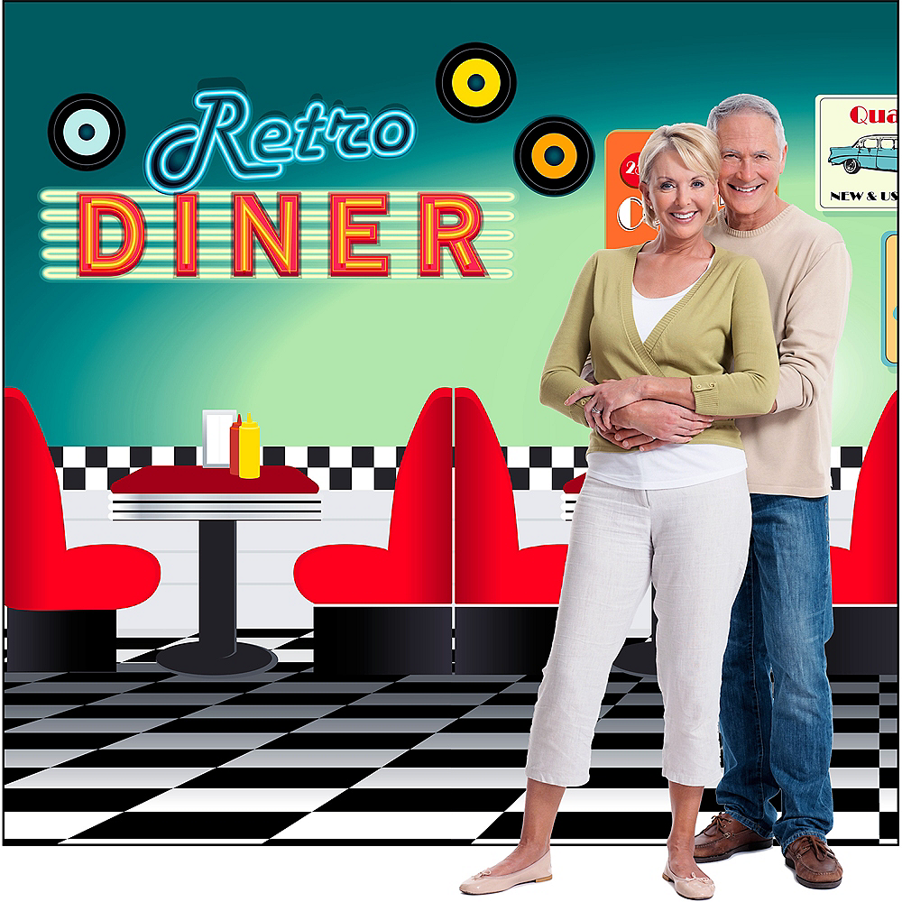 50s Retro Diner Backdrop Standee 2pc Image #3