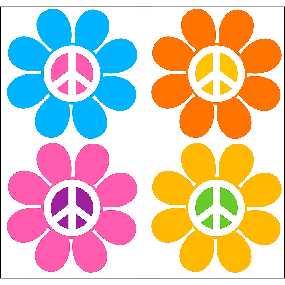 70s Peace Flowers Backdrop Standee 2pc Image #1