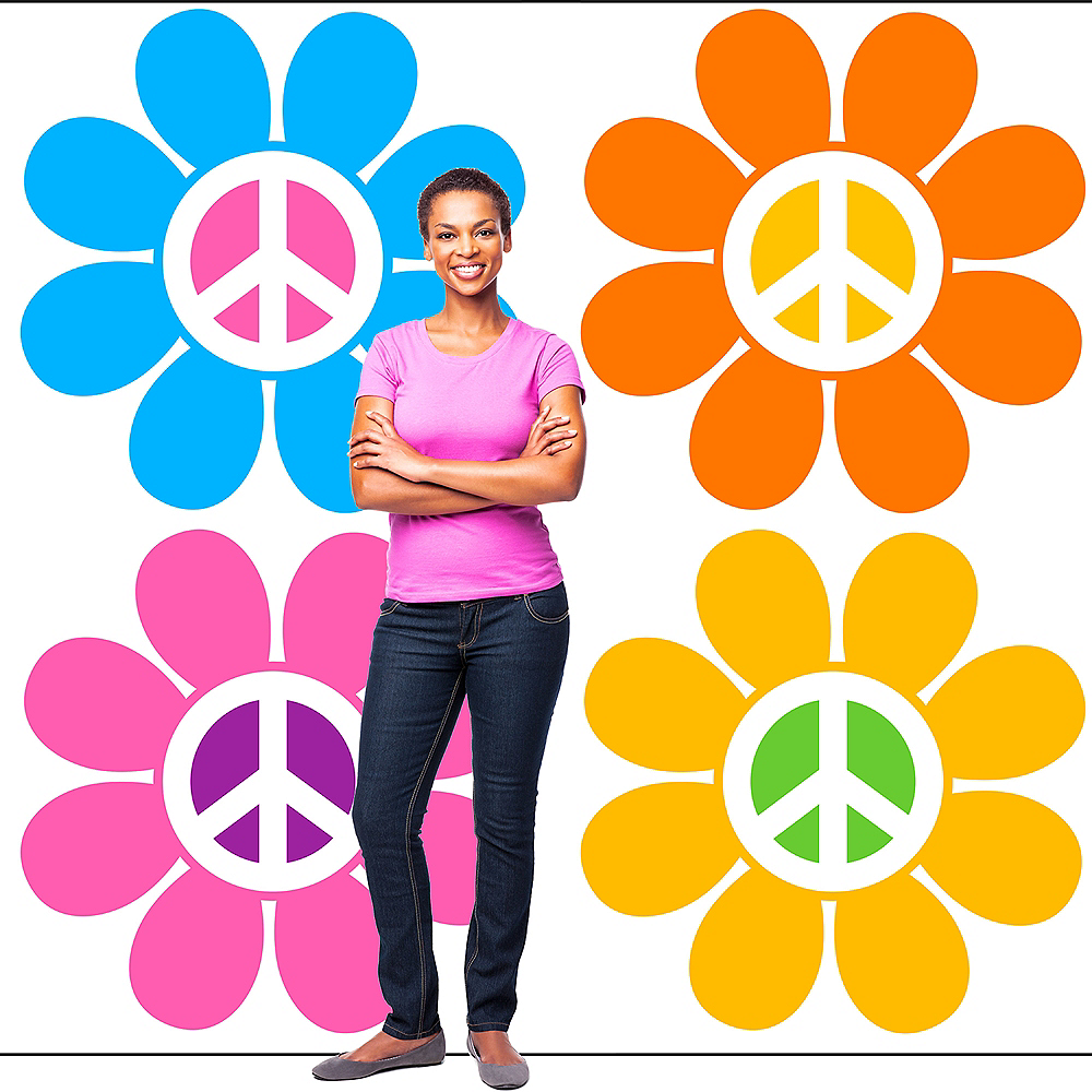 70s Peace Flowers Backdrop Standee 2pc Image #3