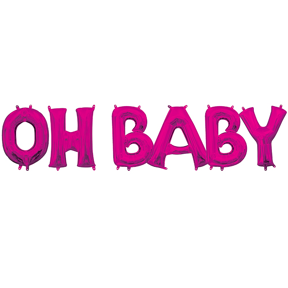 Air-Filled Pink Oh Baby Balloon Kit Image #1