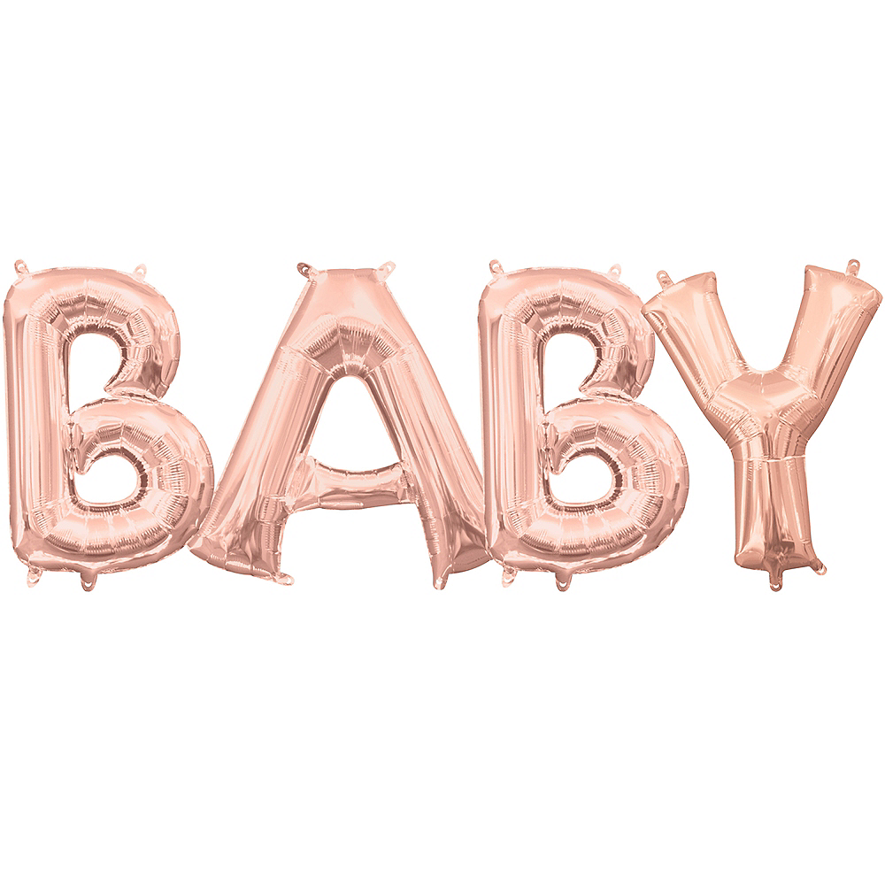 13in Air-Filled Rose Gold Baby Balloon Kit Image #1