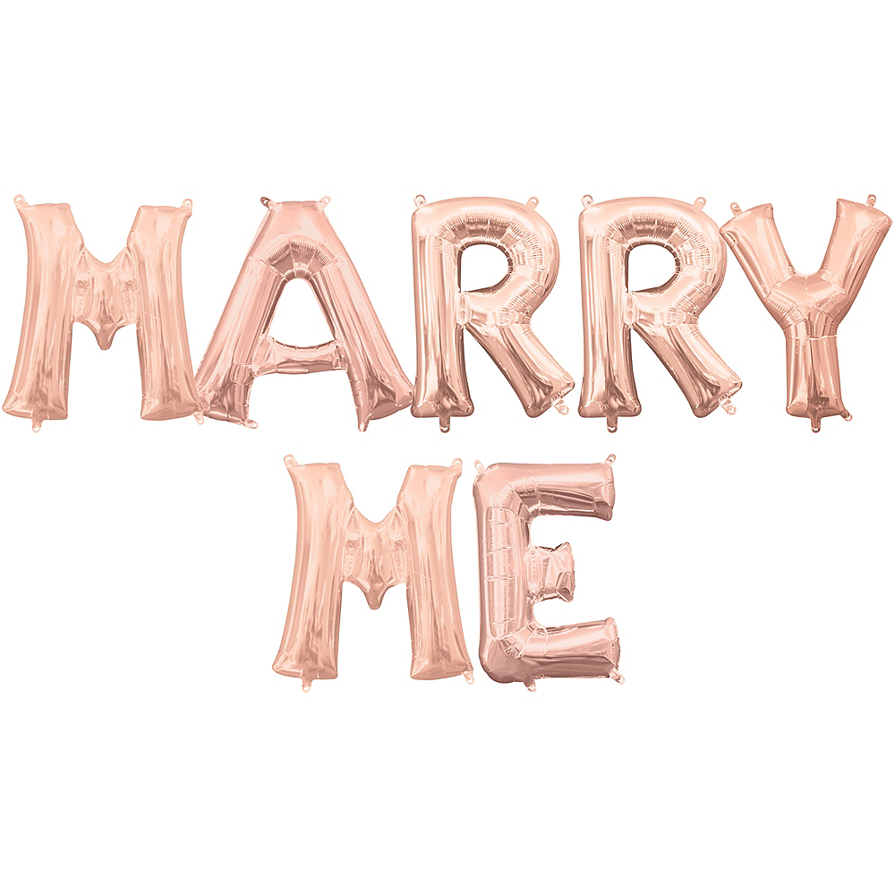 Air-Filled Rose Gold Marry Me Balloon Kit Image #1