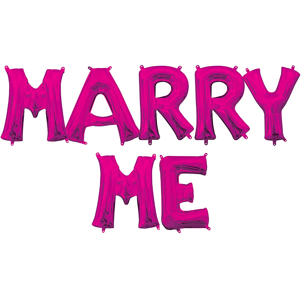 Air-Filled Pink Marry Me Balloon Kit Image #1