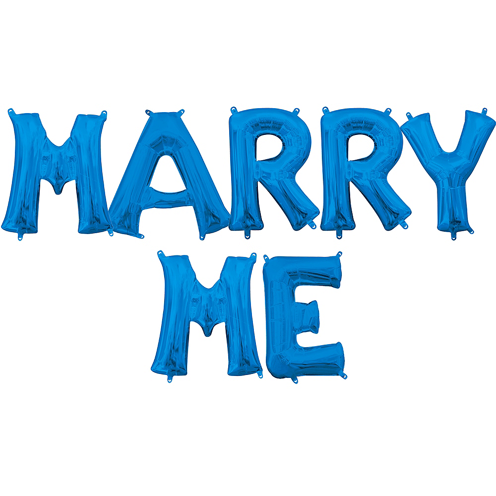 Air-Filled Blue Marry Me Balloon Kit Image #1