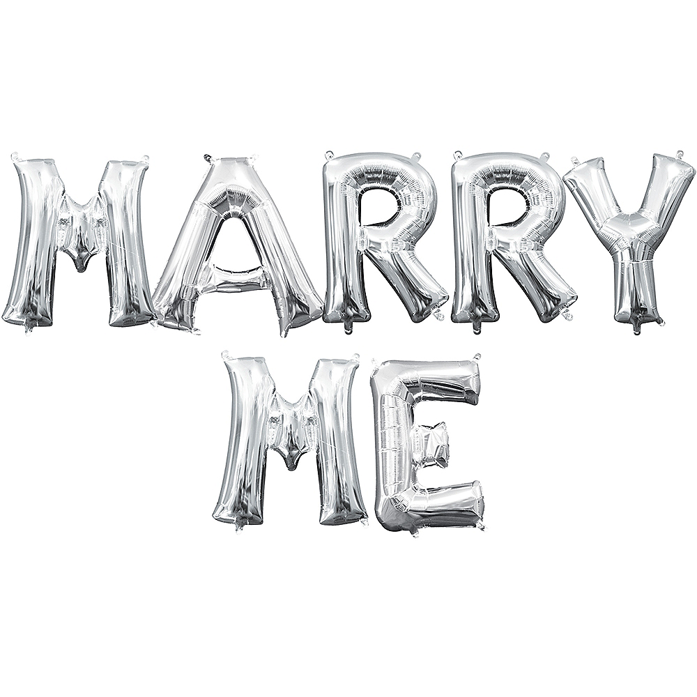 Air-Filled Silver Marry Me Balloon Kit Image #1