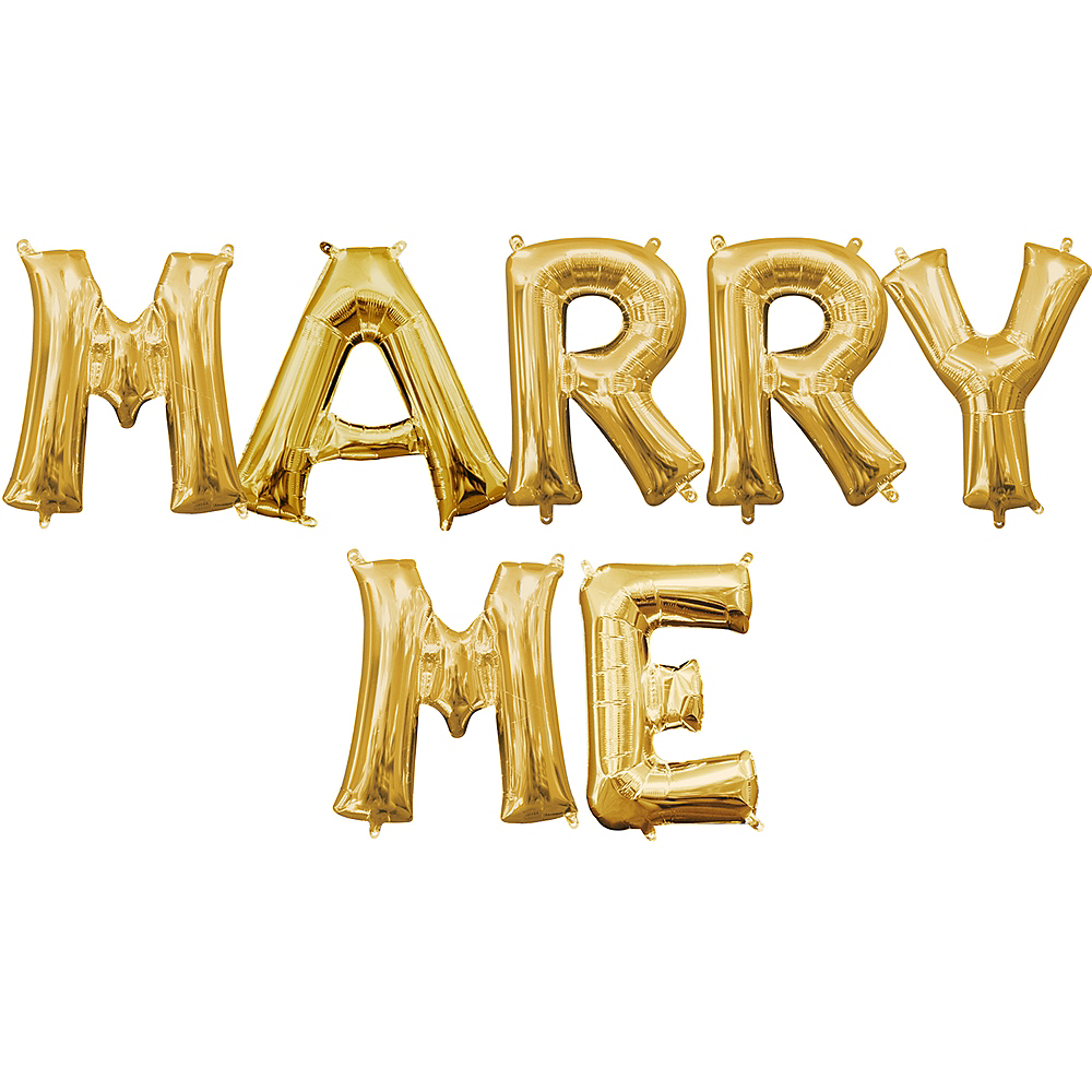 13in Air-Filled Gold Marry Me Balloon Kit Image #1