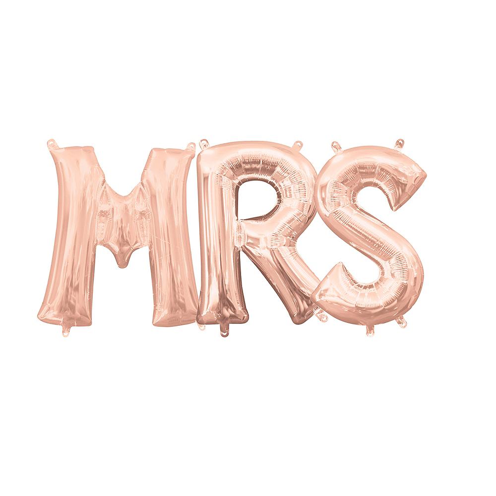 13in Air-Filled Rose Gold Mrs. Balloon Kit Image #1