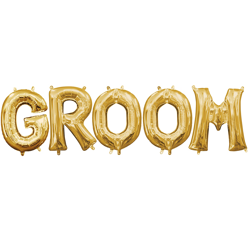Air-Filled Gold Groom Balloon Kit Image #1
