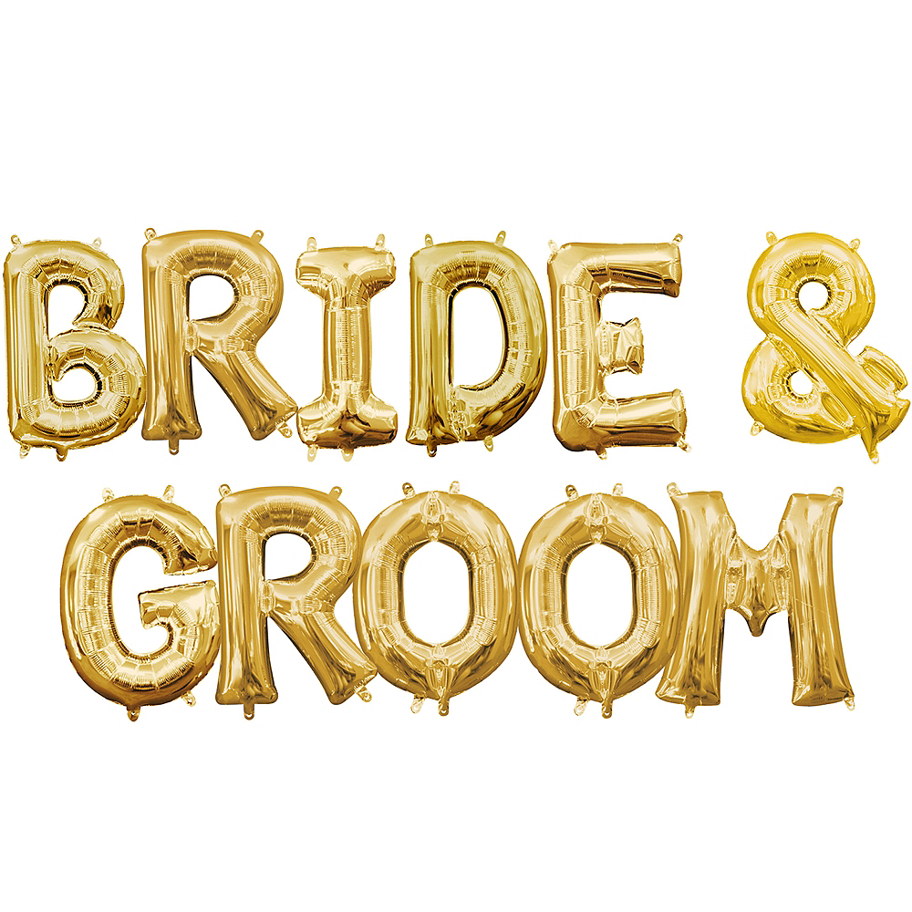 13in Air-Filled Gold Bride & Groom Balloon Kit Image #1