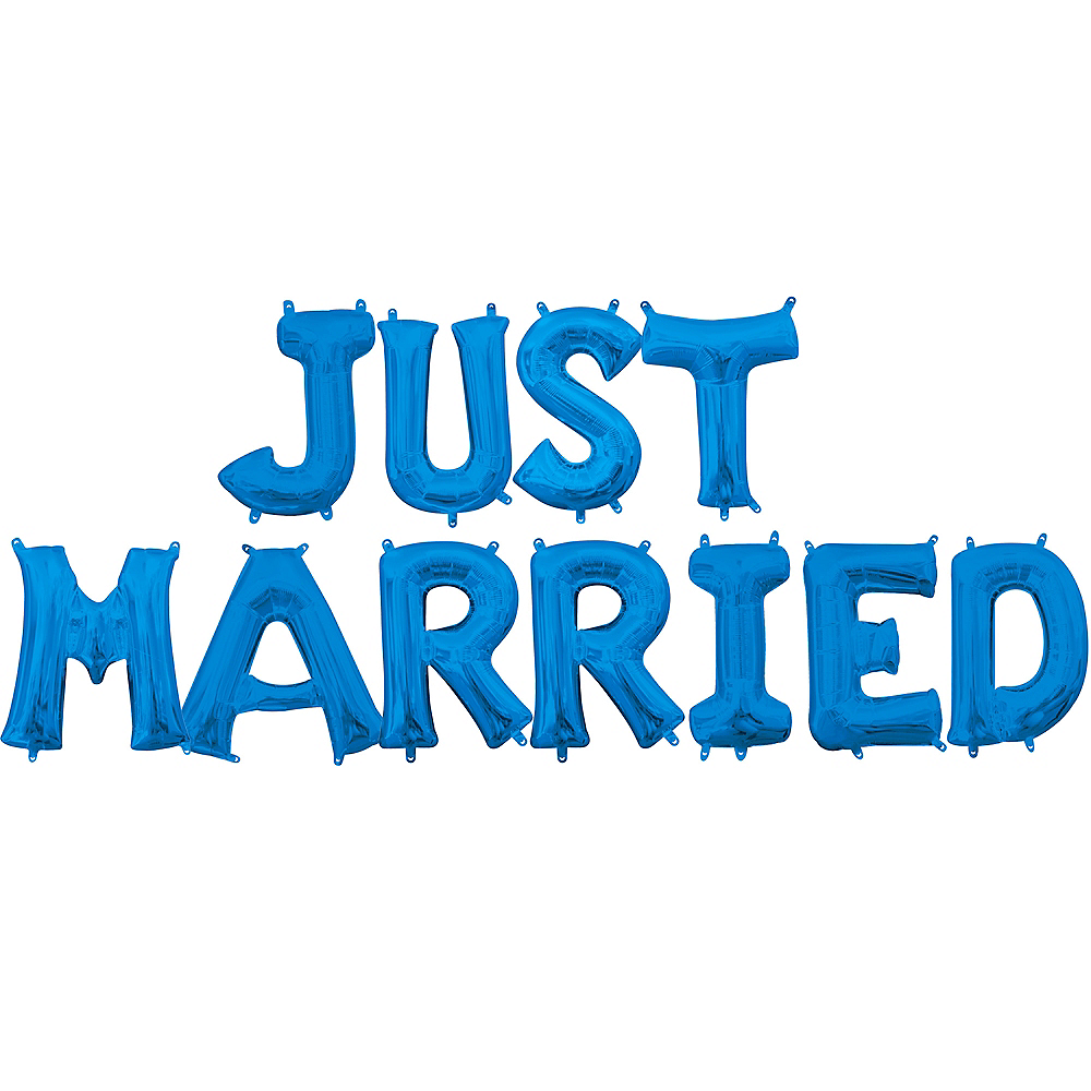 Air-Filled Blue Just Married Balloon Kit Image #1