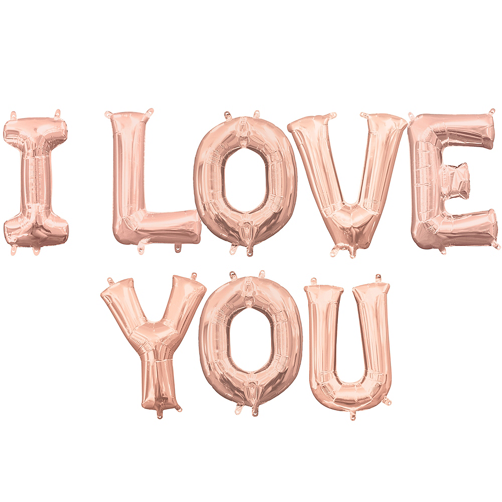 13in Air-Filled Rose Gold I Love You Balloon Kit Image #1